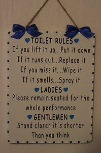 Image is loading Handcrafted-Wooden-Bathroom-Sign-TOILET-RULES-LADIES -GENTLEMEN