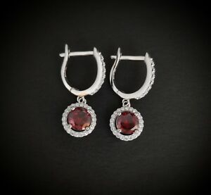 925-Sterling-Silver-Round-Red-Ruby-Diamond-Drop-Hoop-Leverback-Earrings