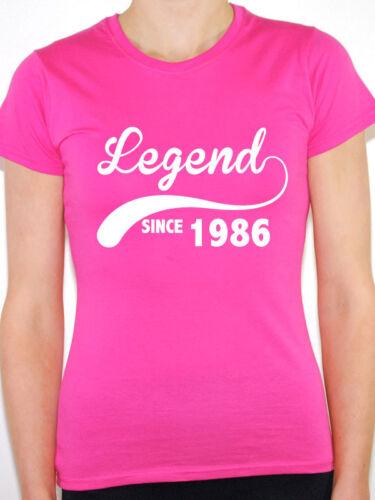 nouveau cadeau d/'anniversaire thème Femmes T-shirt Légende depuis 1986-année de naissance