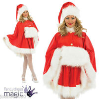 LADIES DELUXE SANTA CAPE FANCY DRESS COSTUME WITH HAT AND WHITE FUR HAND MUFF