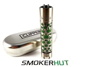Metal-Clipper-Lighter-Amsterdam-Multi-Leaves-Green-Weed-Bud-With-Gift-Tin