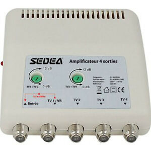 amplificateur d 39 antenne 4 sorties etagees tnt hd tv reglage gain protection 4 g ebay. Black Bedroom Furniture Sets. Home Design Ideas