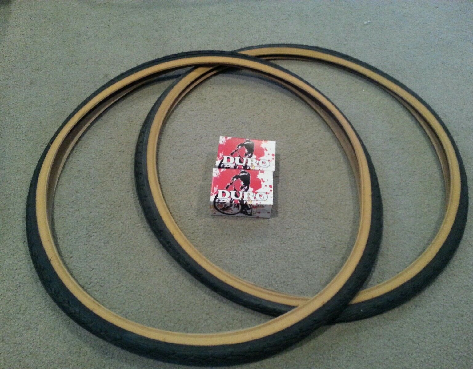 TWO(2) DURO 700X35C BICYCLE TIRES GUMWALL + 2 TUBES ROAD FIXIE BICYCLES