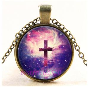 Nebula Cross Photo Cabochon Verre Bronze Chaîne Collier Pendentif #CY56