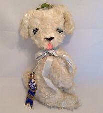 Vintage Krueger Plush White Musical Dog Rare Sitting Up Stuffed Animal Toy