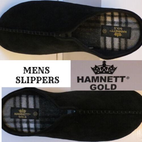 Taille 8 boxed Hamnett Gold Homme Simple Noir Mule Chaussons à Enfiler