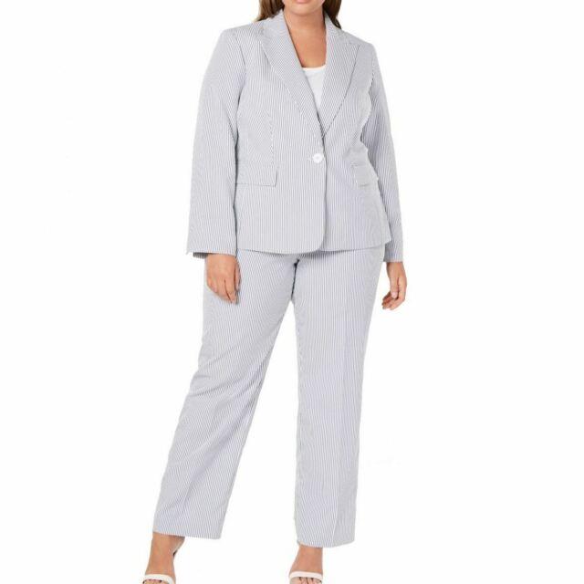 Le Suit Women S Plus Size 1 Button Seersucker Pant Suit Navy White