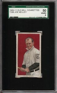 Rare 1909-11 T206 HOF Joe Kelley Old Mill Back Toronto SGC 50 / 4 VG - EX