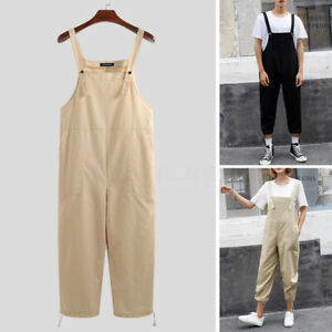 Summer-Men-039-s-Retro-Cotton-Dungarees-Jumpsuits-Loose-Playsuit-Overalls-Pants-UK
