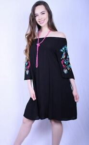 Southern-Stitch-Black-Off-Shoulder-Wide-Sleeve-Embroidery-Dress