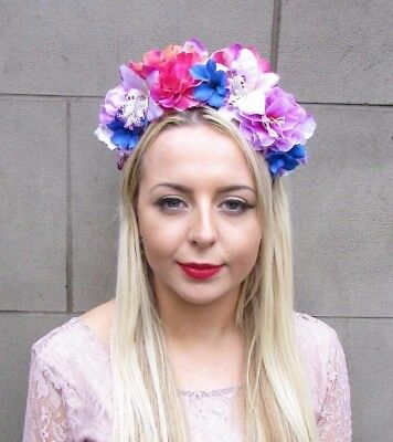 Hot Pink Lilac Blue Hibiscus Orchid Rose Flower Headband Hair Crown Floral 4338