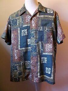 Men-039-s-Shirt-Vintage-Hawaiian-nubby-poly-rayon-tapa-print-Green-Brown-50-034-L-2XL
