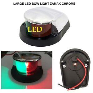 LARGE-12V-MARINE-LED-NAVIGATION-BOAT-BOW-LIGHT-RED-amp-GREEN-LENSE-ZAMAK-CHROME