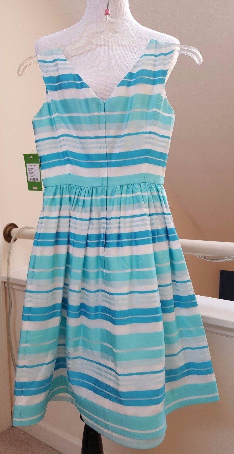 New New New Lilly Pulitzer Silk Kiera Stripe Dress, White Turquoise Size 0 59fcb4