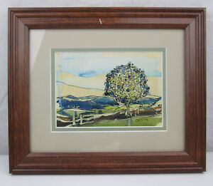Amateur-Watercolor-Painting-Landscape-with-a-Colorful-Tree-12x10-Signed-OLESIAK