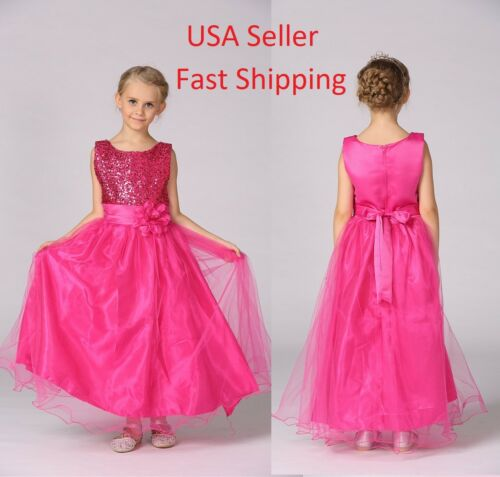 2018 Girls Princess Wedding Dress Kid Rose Red Bridesmaid Flower Red Sequin O80
