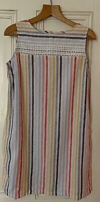 White Red Blue Stripe Ex Next Linen Dress Size 16