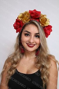 Red Gold Rose Flower Crown Headband Floral Headpiece Halloween Day ... 3f202441f29