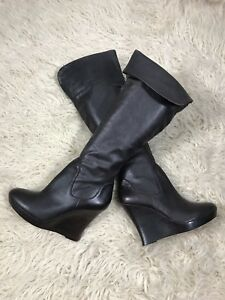 Knee Brown Leather Boots Size