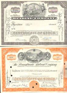 Monopoly-railroads-gt-Reading-B-amp-O-Pennsylvania-Set-of-3-stock-certificate