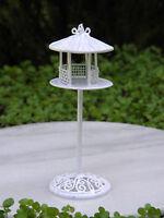 Miniature Dollhouse Fairy Garden Accessories White Wire Bird Feeder