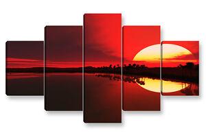cm 150x50 arredamento stampa su tela AFRICAN SUNSET 3 Quadro Moderno 3 pz