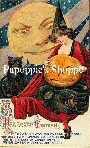 Fabric Block Witch Halloween Witch Jack O Lantern Vintage Postcard Image
