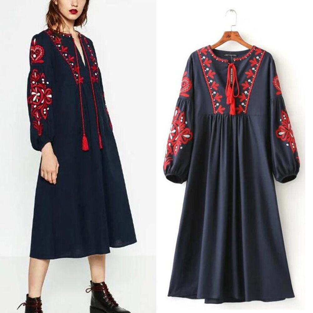 Boho Womens Ethnic Navy Tasseled Embroidered Loose Long Dress Bloggers Fav New