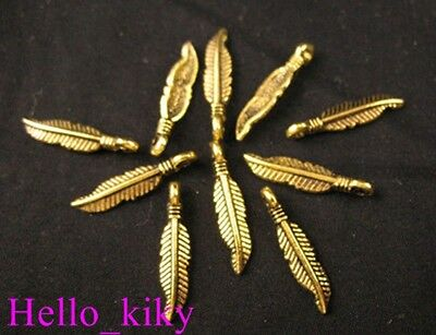 200Pcs Antiqued gold slender feather charms 19x4mm A127