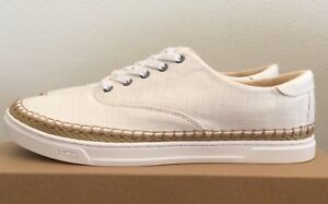 735f25b7cda Details about Size 10 UGG Womens Eyan II Canvas Sneakers Tennis Shoes White  Wall Beige 1011223