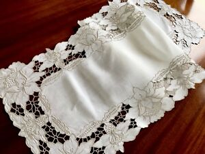 VINTAGE-HAND-EMBROIDERED-Off-White-Linen-Table-RUNNER-TABLE-Centre-CLOTH-40x13