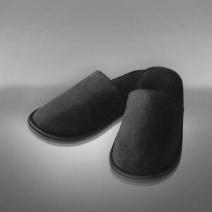 100% De Qualité 2 X Paire Hôtel De Luxe Pantoufles Noir Chaussons Pantoufles Hôtel Chaussures En Velours-afficher Le Titre D'origine