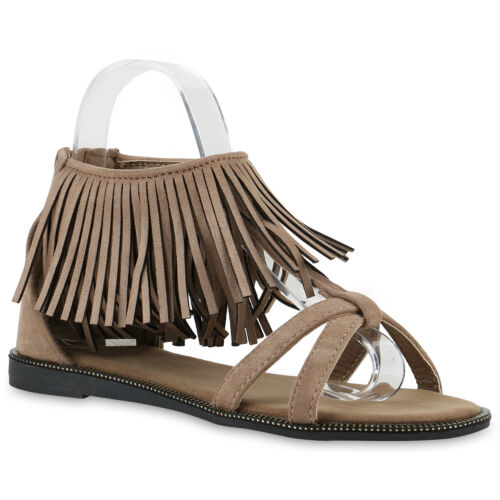Damen Sandalen Flats Fransen Metallic Riemchensandalen Schuhe 817698 Trendy
