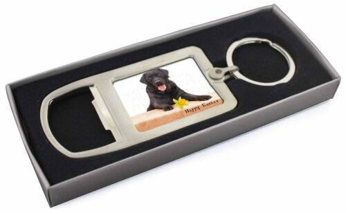 'Happy Easter' Black Labrador Chrome Metal Bottle Opener Keyring i, ADL86DA1MBO