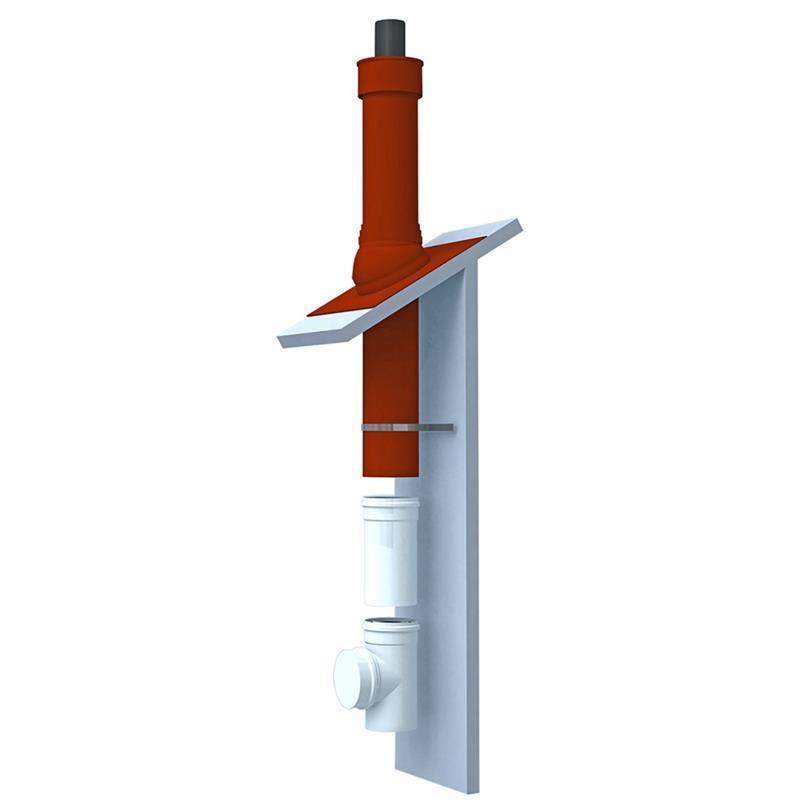 Dachdurchführung Polyline Grundpaket Dachzentrale terrakotta Schrägdach DN60/100