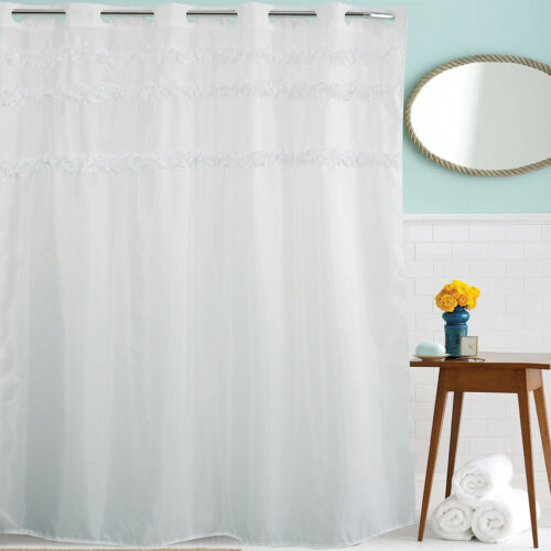 US Chic Frilly Ruffled White Lace Fabric Shower Curtain 12 Hooks Bathroom Decor
