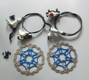 Hydraulic Disc Brake levers Calipers Front Rear set 160//180//203mm Floating rotor