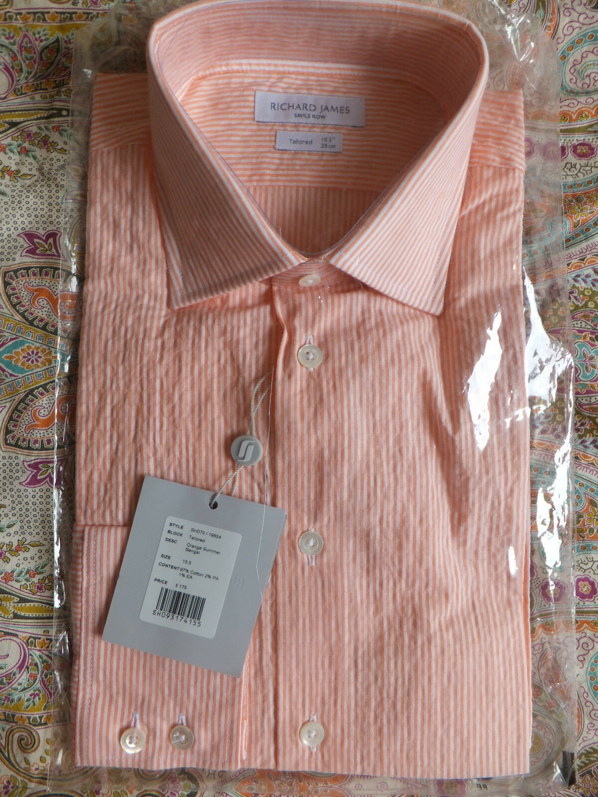 Richard James Savile Row Shirt TailoROT Fit Collar 15.5 Brand New