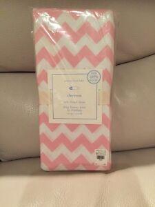 1 Pottery Barn Kids Chevron Crib Sheet Light Pink NWT