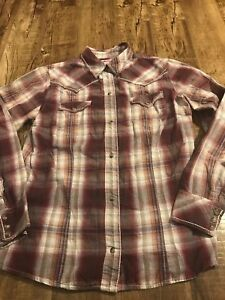 Roper-Womens-Pearl-Snap-Plaid-Western-Cowgirl-Shirt-Long-Sleeve-Red-Sz-Medium