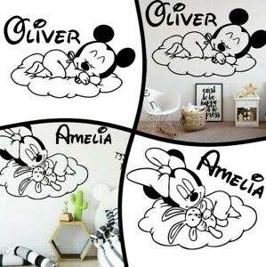 Sleep Mickey Mouse Cartoon Baby Bed Room Personalized Custom Name Wall Stickers Ebay