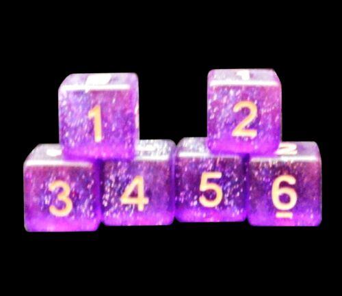 Glitter Purple Set of 6 New Numbered D6 Six Sided Standard 16mm Dice
