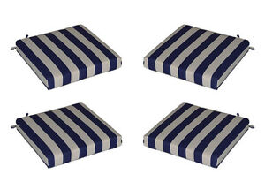 Sensational Details About Set Of 4 In Outdoor Foam Seat Cushions Navy Blue White Stripe Choose Size Ibusinesslaw Wood Chair Design Ideas Ibusinesslaworg