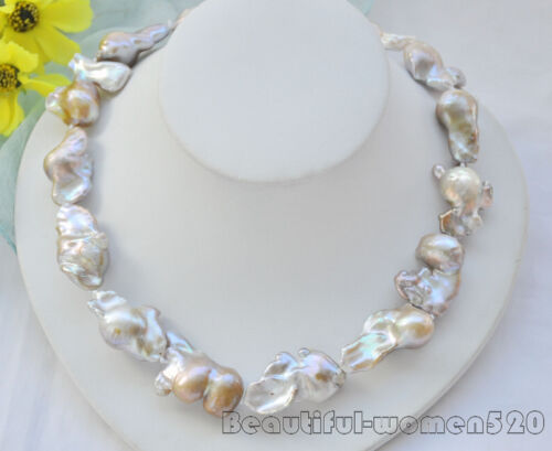 Z6939 35mm LAVENDER BAROQUE KESHI REBORN PEARL NECKLACE bowknot 18inch