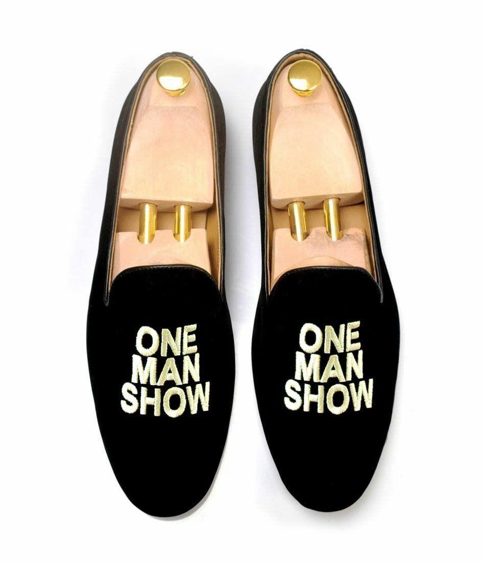 Zapato de Terciopelo Negro para Hombre Hecho a Mano Bordado Zapatillas Hombre mostrar Slip-on Loafer