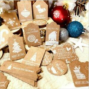 Strings 50X 2020 Christmas Gifts Tags Paper Stickers Present Wrap Labels Kraft