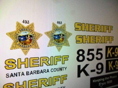 Santa Barbara County Sheriff K9 Patrol Car Decals 1:24