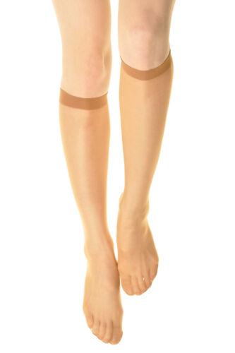 3~6 Pairs 15 denier Womens Comfort Band Stretchy Sheer Knee High Trouser Socks