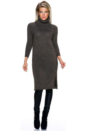 MAGLIA da Donna Vestito Long vestito collo alto S 34 36 38 Rolli Pullover Maglione Caldo Nuovo