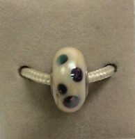Fenton Art Glass Jewelry Leopard Diva Bead Iridescent Polka Dot Charm